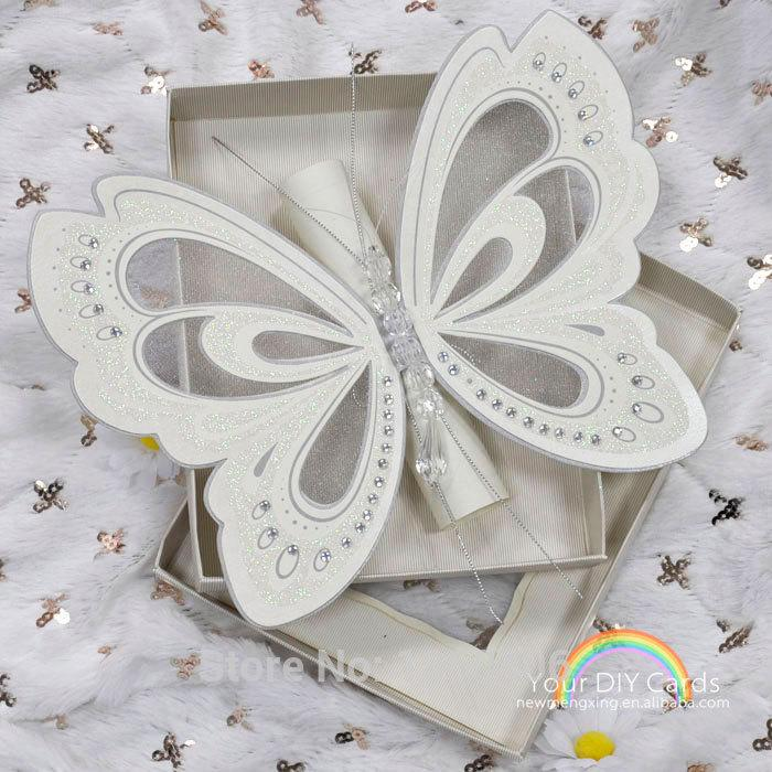 3d Scroll White Butterfly Wedding Invitation Card With White – Butterfly Wedding Invite