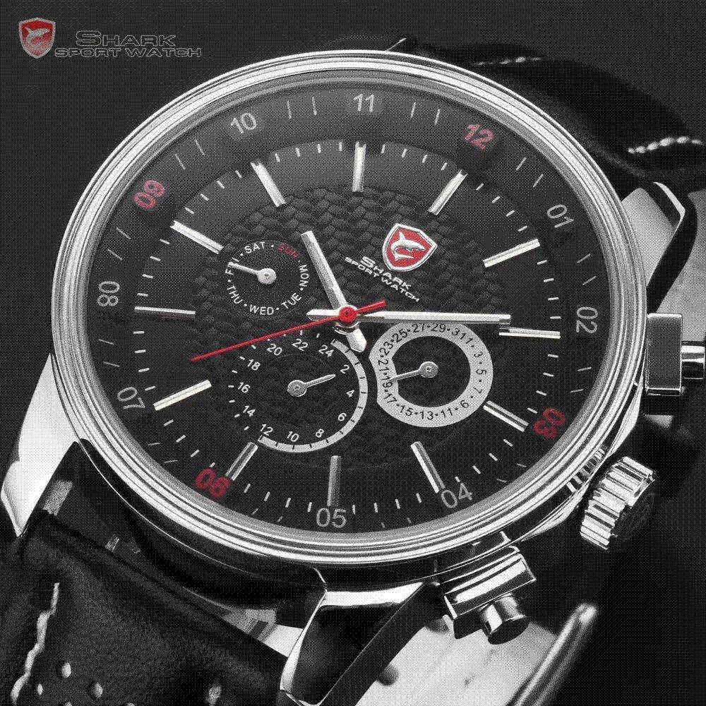 Shark 6 Hands Male Clock Calendar Stainless Steel Case