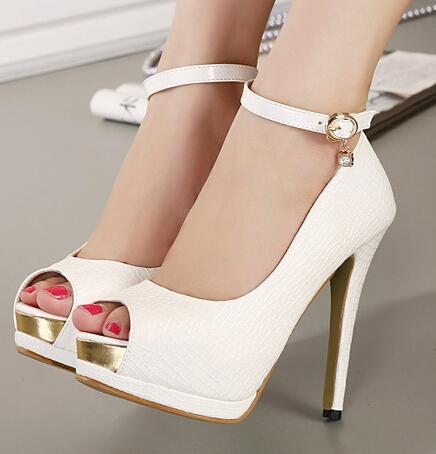 Elegant Ankle Strap White Heels Bridal Pumps Shoes Women High ...