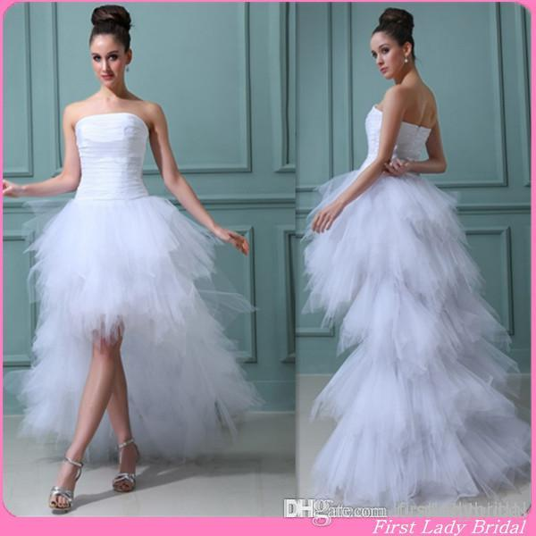 Western Style 2015 Wedding Dresses High Low Strapless White Taffeta And Tulle Pleats Summer