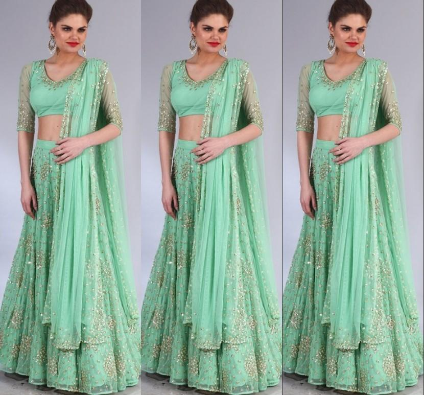 2015 latest pakistani dresses designs green bling sequins