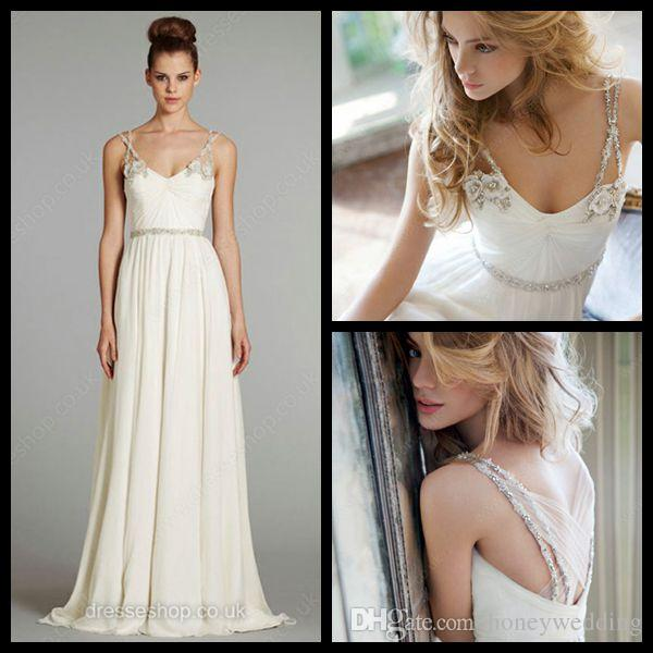 designer hayley paige wedding dresses 2015 spaghetti boho backless crystyal beaded flowers empire chiffon long beach