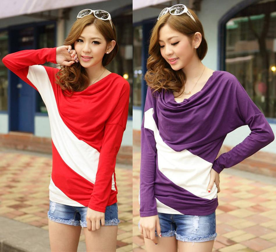 Loose sleeve t shirt stitching striped long-sleeved knitwear pullover for ladies W4099