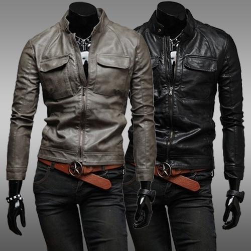 Fashion Leather Jackets Men Double Pocket Europe And America Style