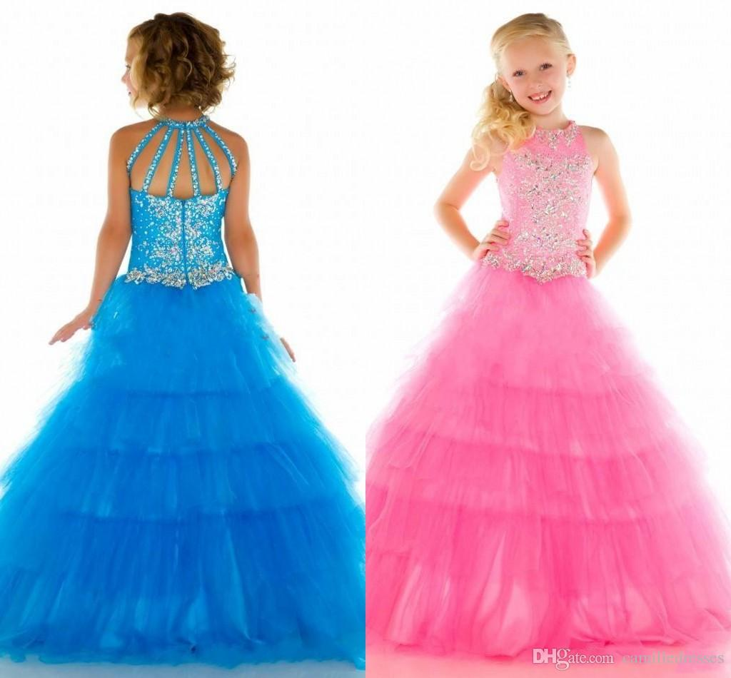 Bling Pageant Dress Kids Ball Gowns Little Girl's Crystal 2015 ...