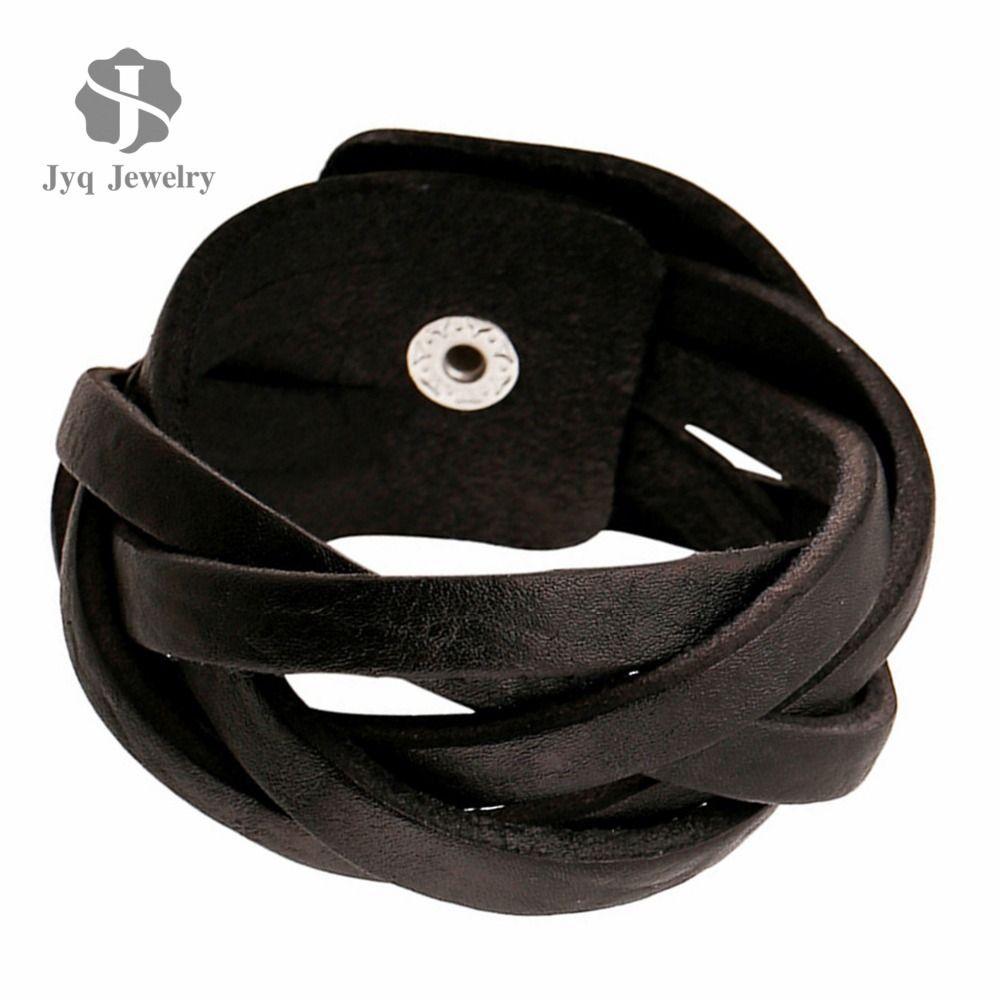 Wholesalenew Pure Handmade Genuine Men Leather Bracelets Brand Fashion  Punk Wide Cuff Bracelets &