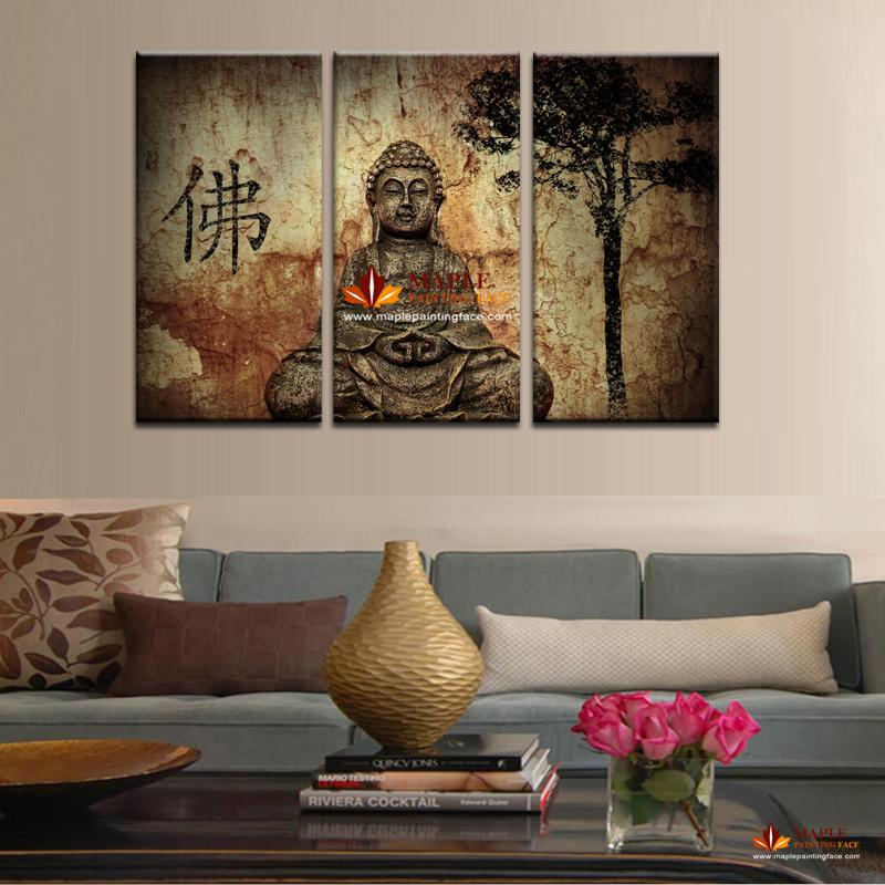 2017 Hot Sell 3 Panel Large Buddha Painting Canvas Wall Art Set Modern Home Decorative Pictures