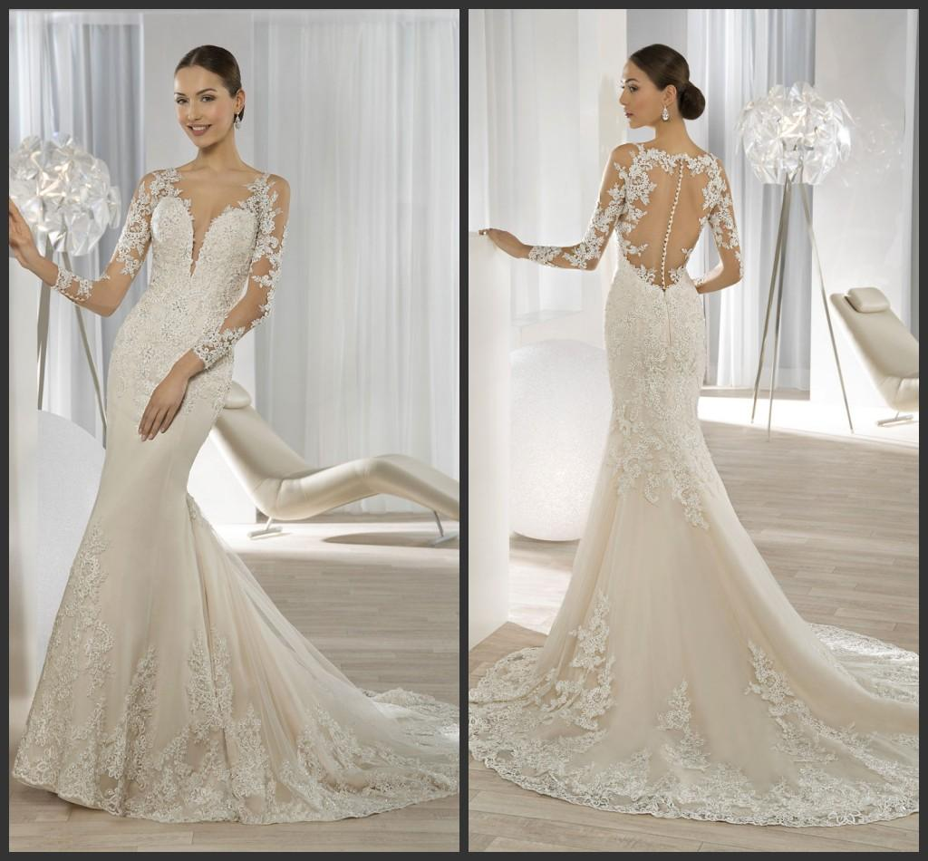 Beaded Mermaid Wedding Dresses Sheer Long Sleeves 2016