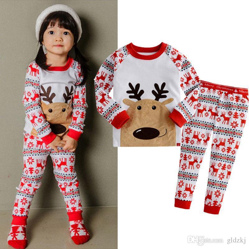 2015 Boys Girls New Boys Girls Xmas Snowflake Reindeer Nightwear ...