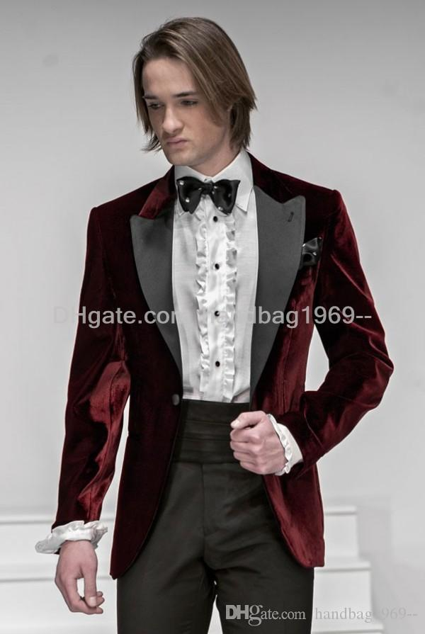 New Custom Design One Button Dark Red Groom Tuxedos Peak Lapel ...