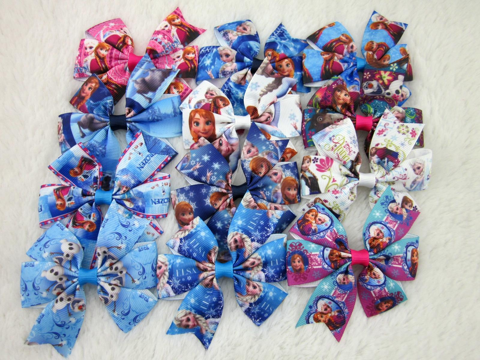 Ha hair bow ribbon wholesale - New Design 3inch Ribbon Frozen Hair Bows With Clip For Baby Kids Buotique Frozen Bows Hair Accessories 24pcs Lot