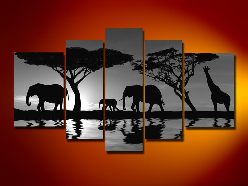 Hand Painted Oil Wall Art African Tree Night Elephants Sun Decoration