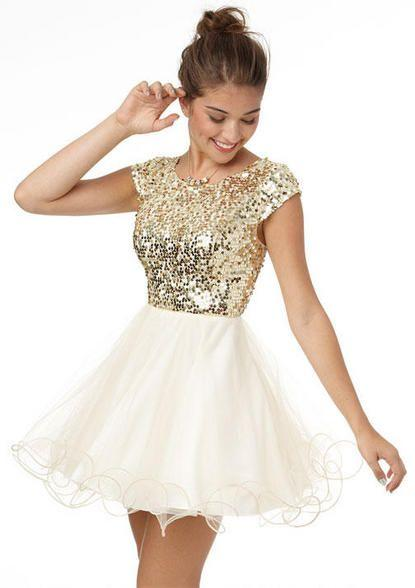 White And Gold Short Homecoming Dresses Scoop Cap Sleeve Sequin ...