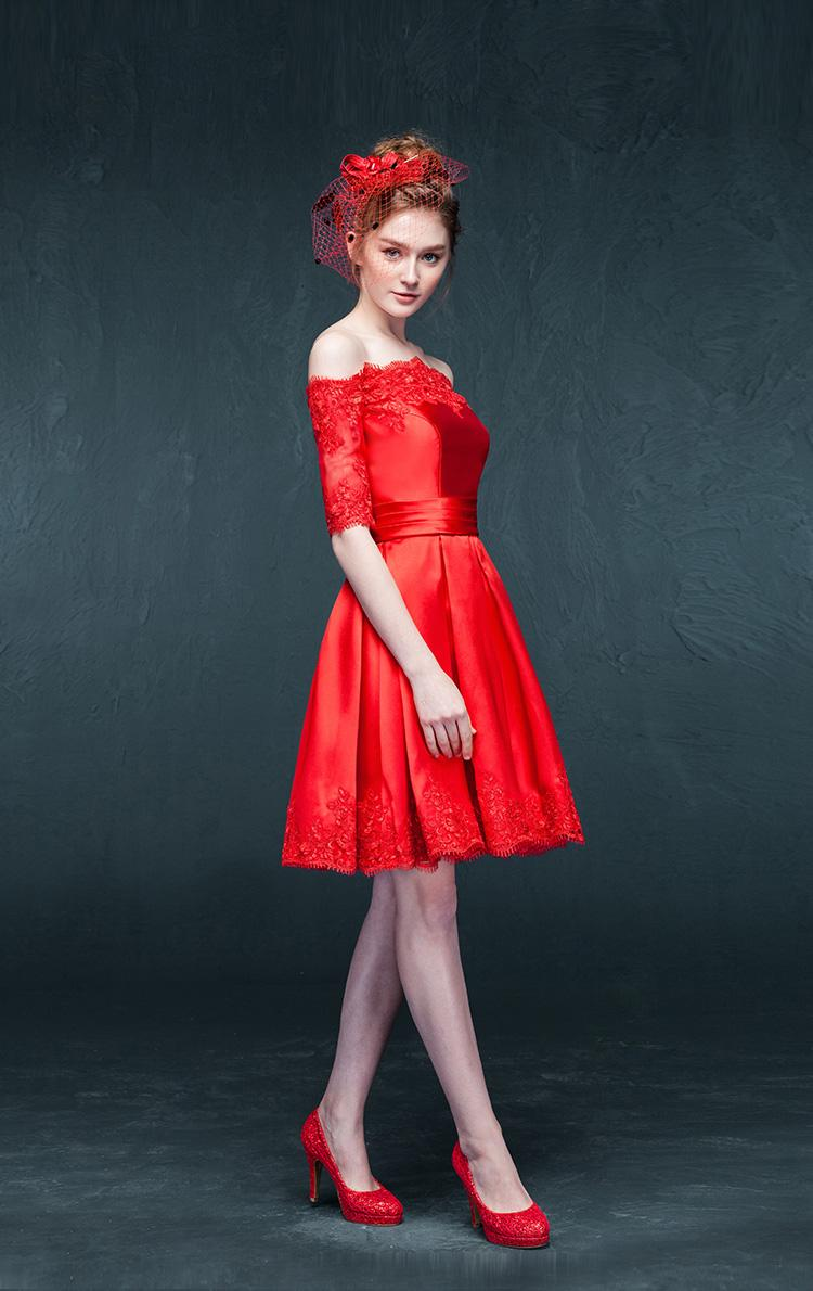 Elegant dresses with sleeves for teens champagne sleeved semi formal - Off Shoulder Red Satin Homecoming Dress Short Sleeves Lace Hem Short Teens Semi Formal Dance Dress Homecoming Dress Designers Homecoming Dress Shopping From