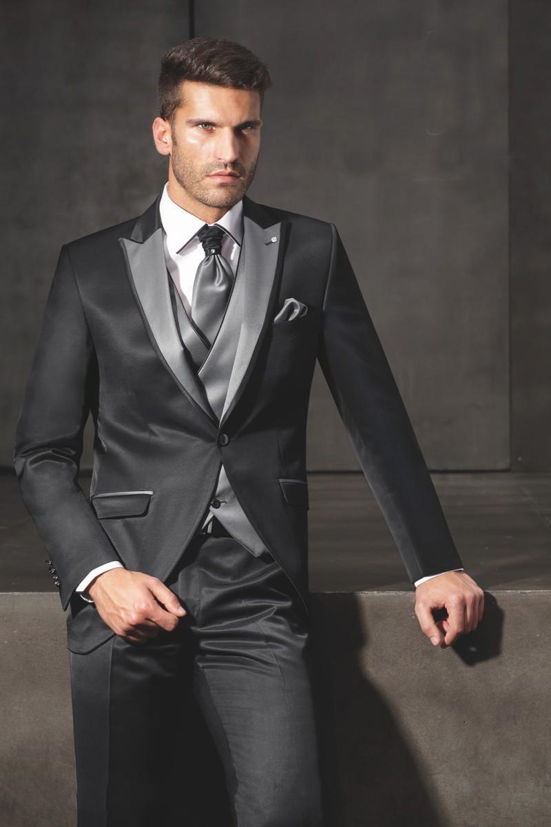 New Arrival Groom Tuxedos Shiny Black Groomsmen Peak Lapel Suit Best Man/Bridegroom/Wedding/Prom ...