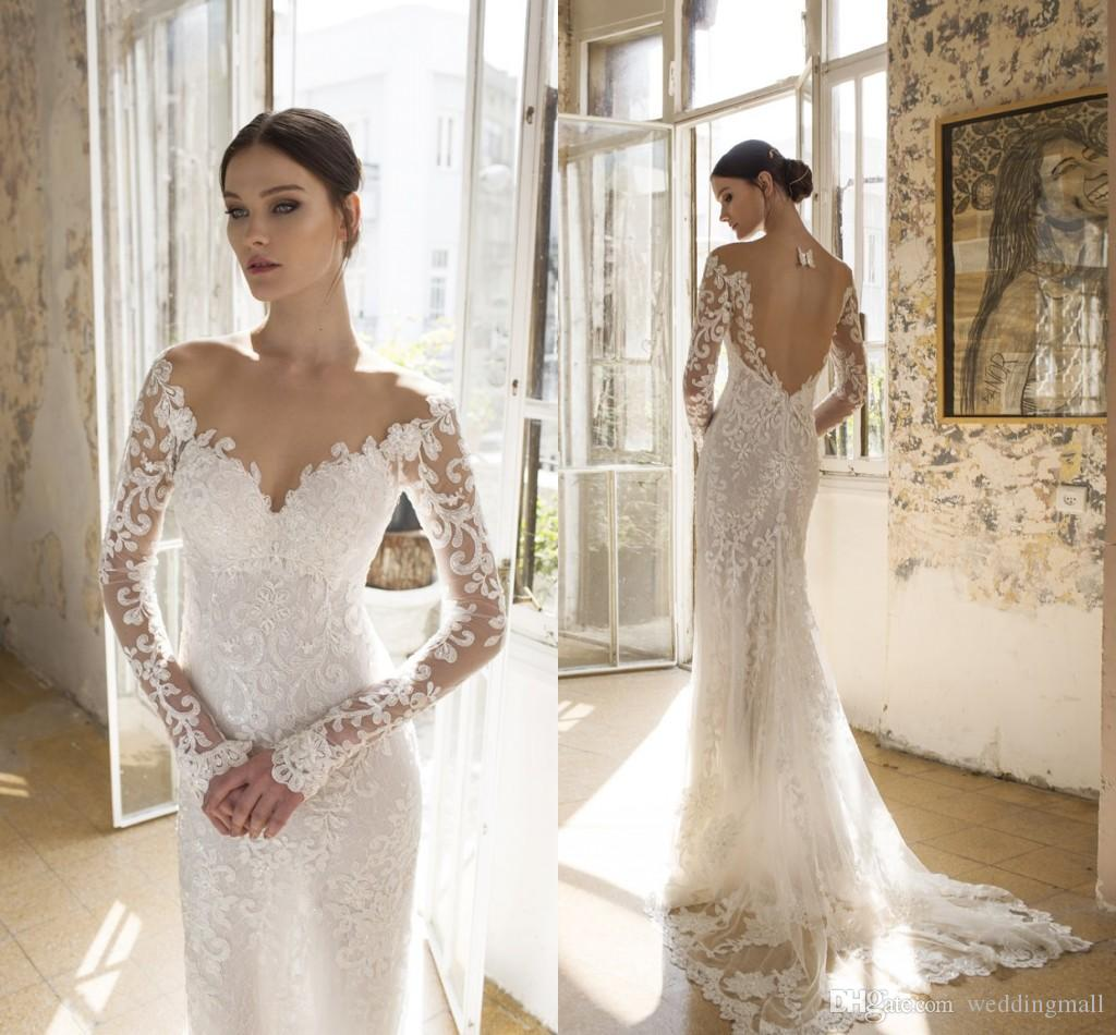2016 Vadim Margolin Sheer Neck Lace Arabic Wedding Dresses