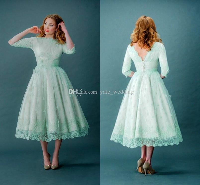 2017 Vintage Lace Prom Dresses Half Sleeves Mint Green Tea Length Spring Plus Size Backless