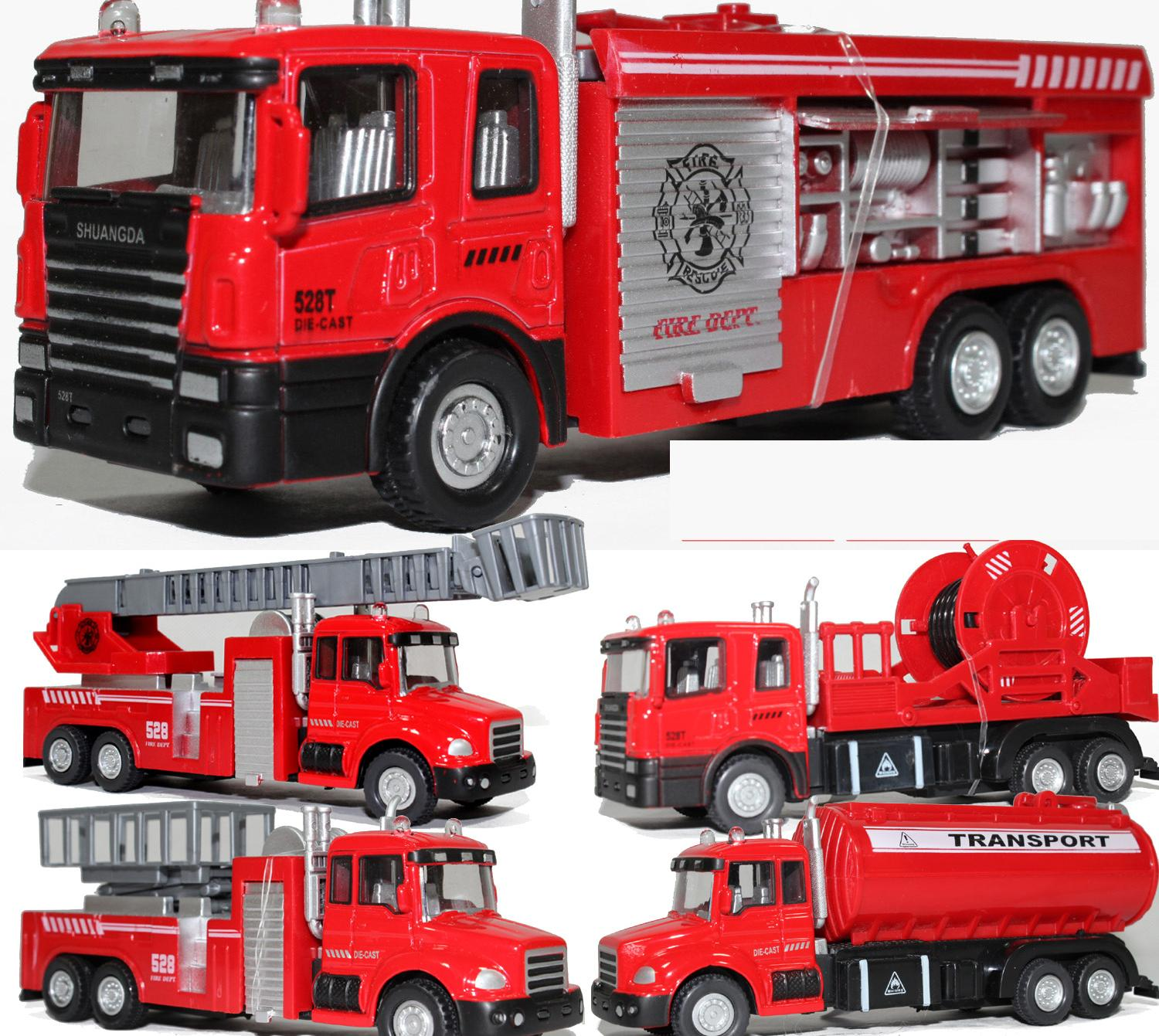 Alloy Truck Model Toy Aerial Ladder Fire Truck Toy Water Tanker