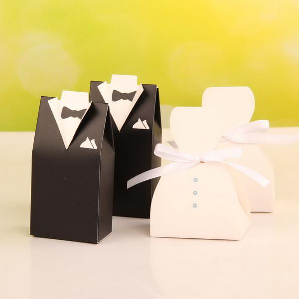 New style tuxedo gown favor box wedding candy box party for Wedding dress shipping box
