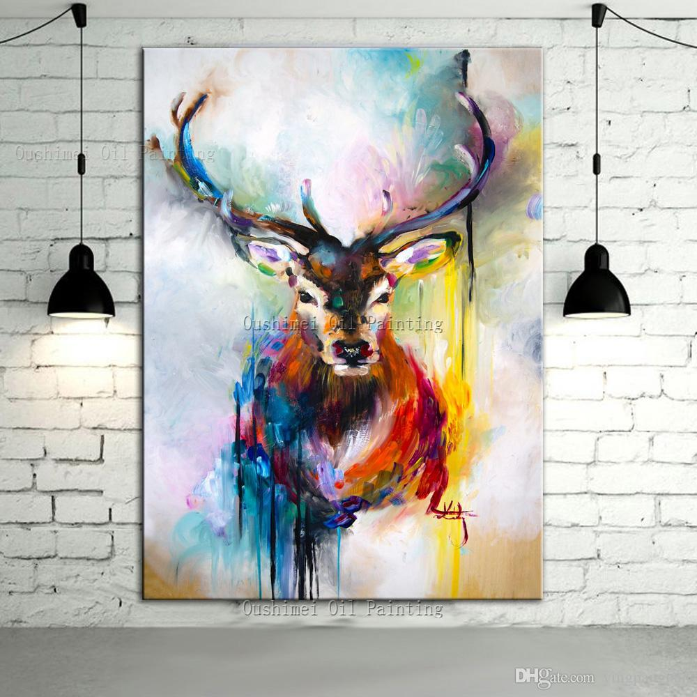 Zebra decor living room - Modern Deer Painting Hand Painted Original Stag By Geometricink