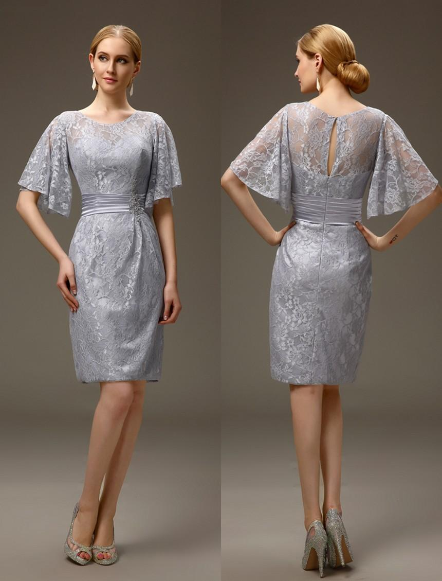Silver grey short casual summer sheath lace mother of the for Mother of the bride dresses for casual summer wedding