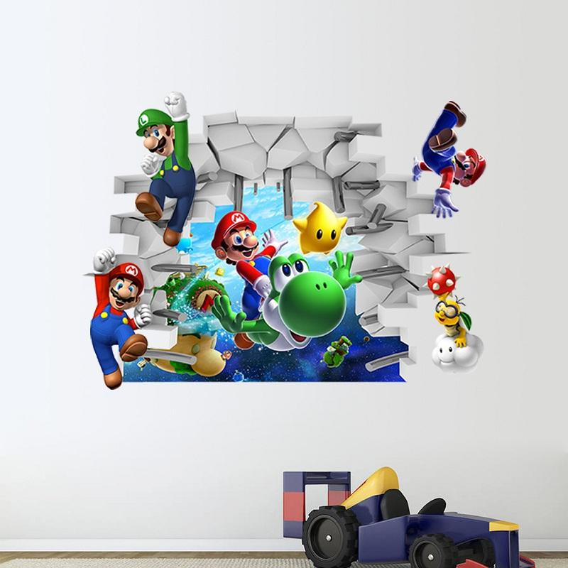 new super mario 3d wall stickers for kids room cartoon diy flame football through wall stickers for kids bedroom 3d