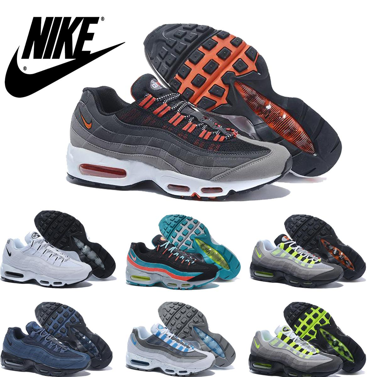 2016 Nike Air Max 95 OG Greedy Retro Mens Running Shoes,Wholesale Original Air Max95 Maxes Airmax 95 OG Neon Green Black Men Sneakers Online with ...