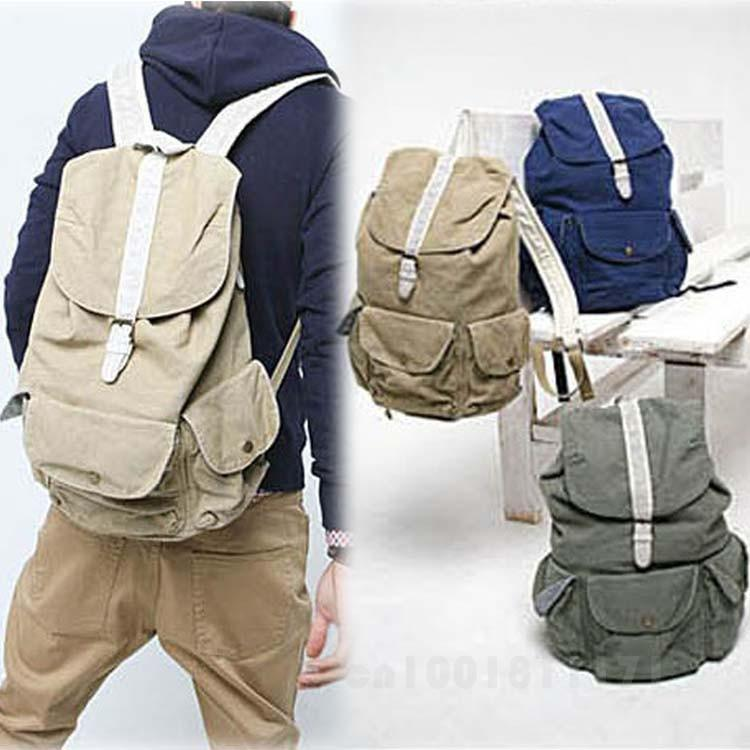 GOOD KOREAN COLLEGE STYLE CANVAS TRAVEL BACKPACK FOR MEN AND WOMEN ...