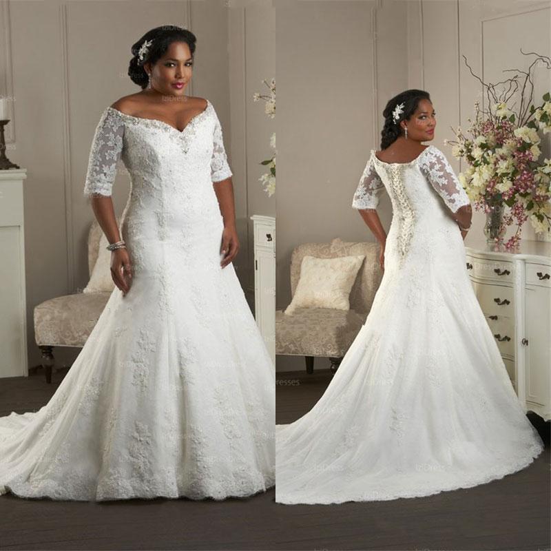 2015 plus size wedding dresses off the shoulder mermaid for Lace top plus size wedding dress