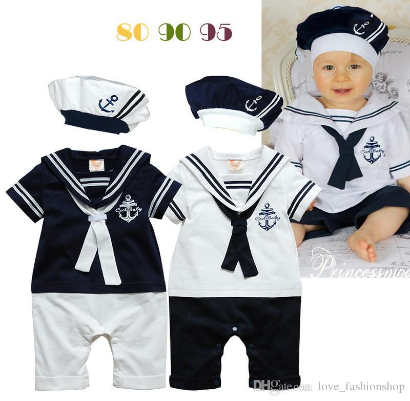 kids navy sailors striped baby romper sets romperhat boys jumpsuits outfits one piece clothing baby clothes baby romper baby clothes boys suits online with
