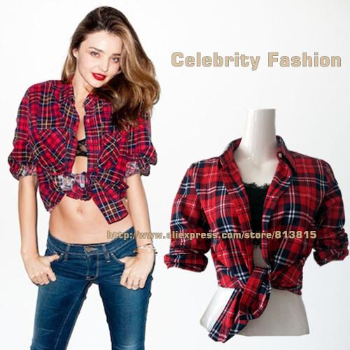 2017 Gb9 Celebrity Style Womens Flannel Tartan Check Print Shirt ...