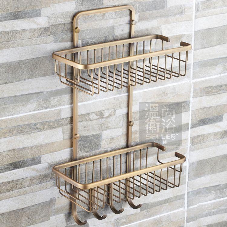 free shiping antique bronze copper 2tier bathroom organizer shower caddy decorative wall shelves with. Decorative Bathroom Wall Shelves  Blue Bathroom Decoration Using