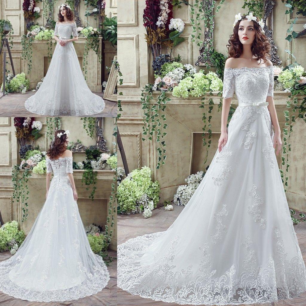 Elegant Half Sleeve Wedding Dresses 2016 y f Shoulder