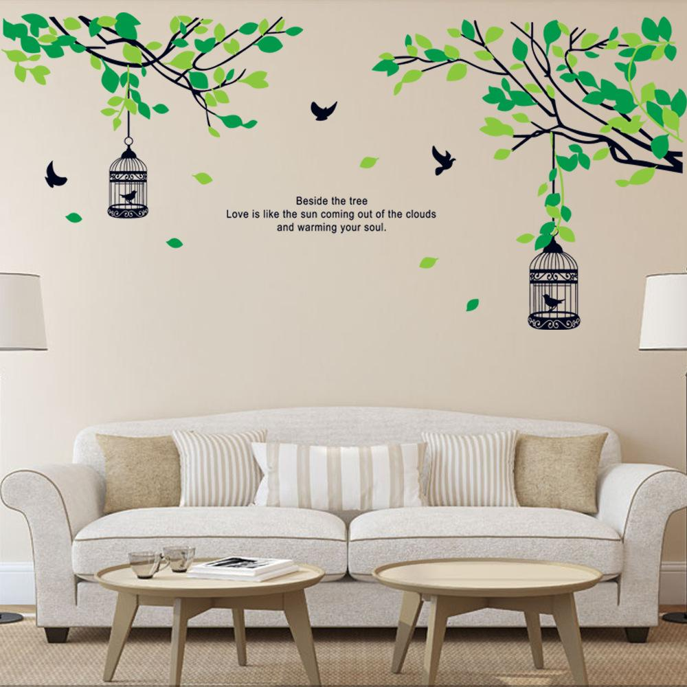 Tree Branches Birdcage Birds Wall Decals For Living Room Bedroom Removable Wall  Stickers Murals Room Decor Wall Stickers Wall Decor Stickers Wall Art ... Part 81