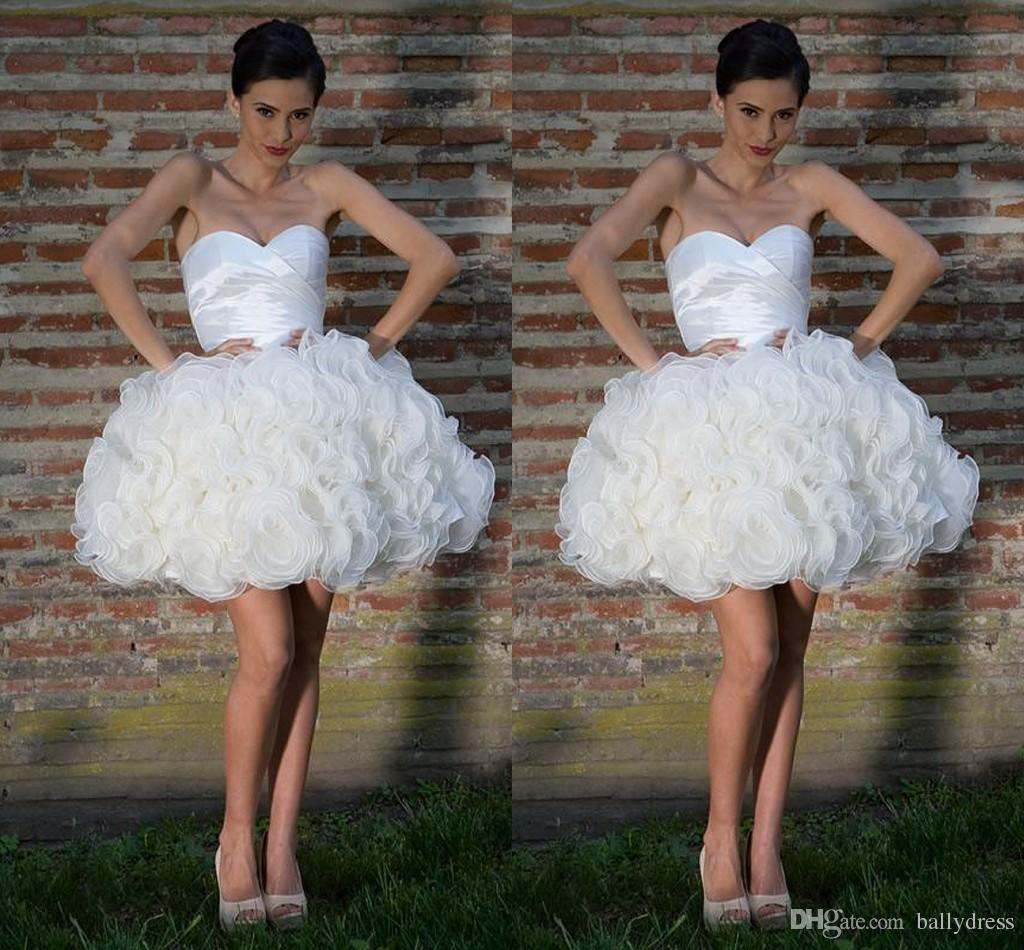 White Cheap Short Prom Dresses Ruffles Sweetheart Wedding