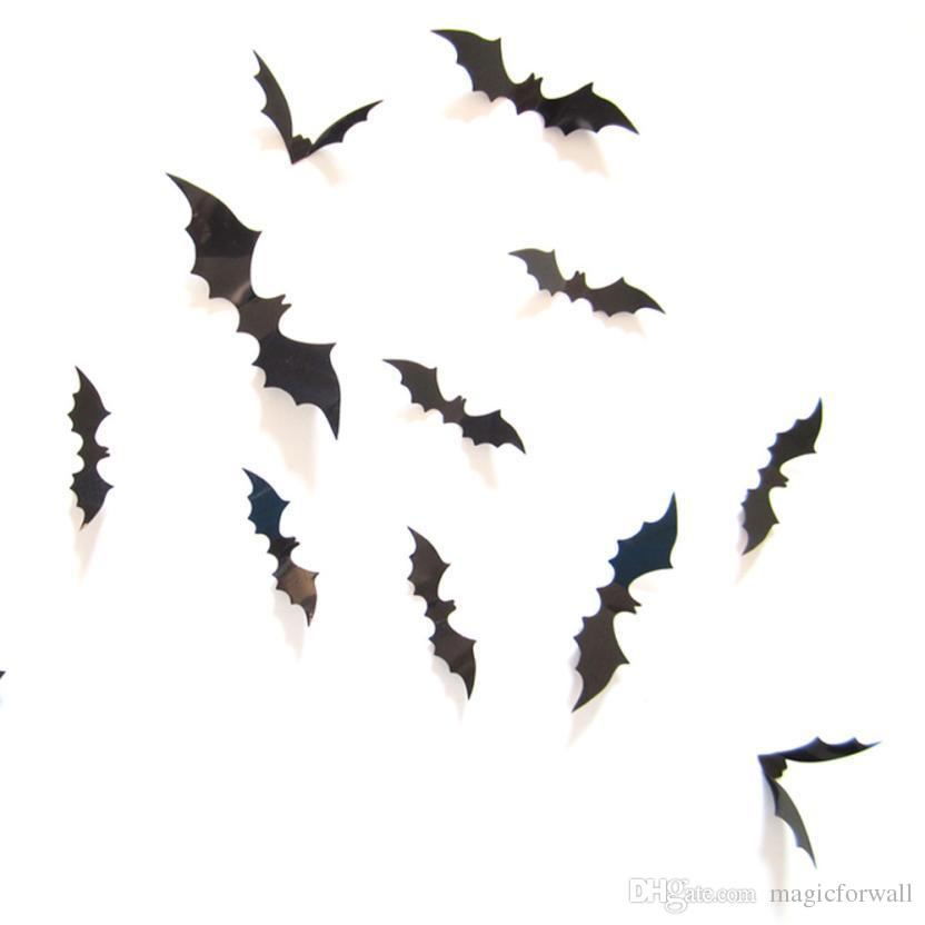 hot selling black pvc 3d bat wall sticker decal decoration for halloween day halloween stereoscopic bat wall mural halloween wall decoration stickers 3d bat