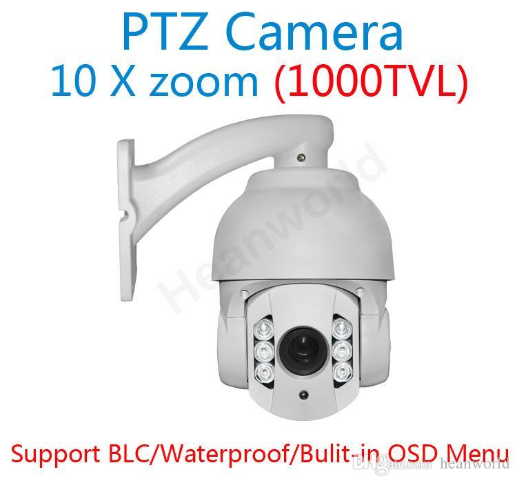 10X Zoom Sony CCD 1000TVL PTZ High Speed Dome Camera 6 Array LED ...