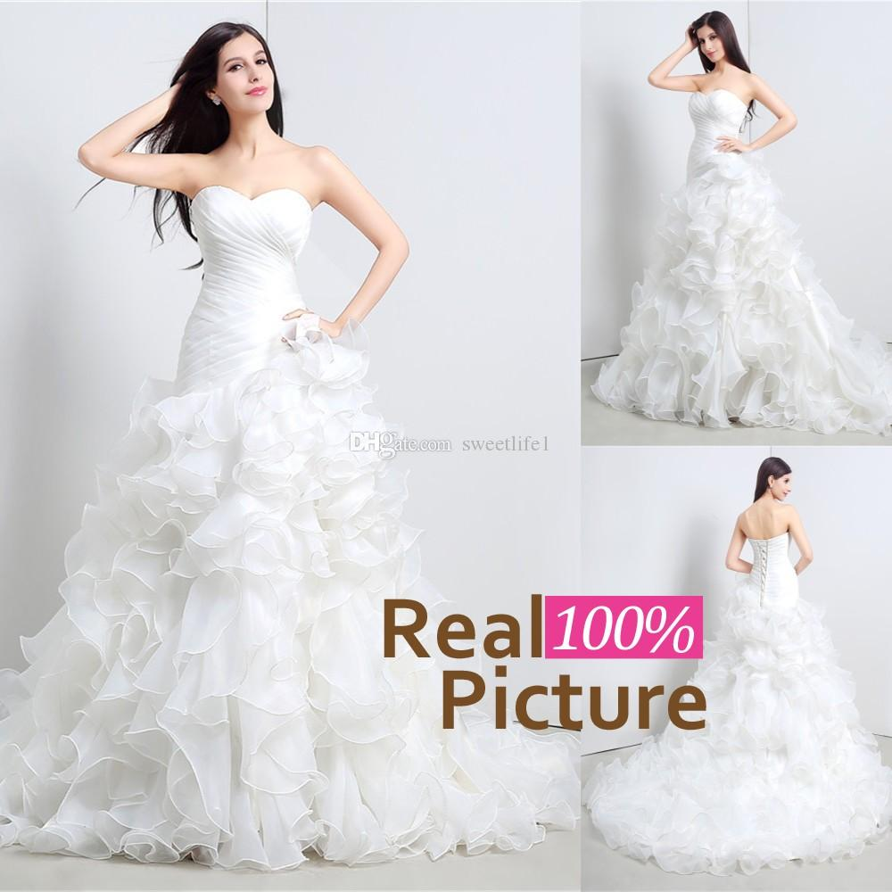 2015 hot sale in stock wedding gowns organza sweetheart for Wedding dresses for sale by owner