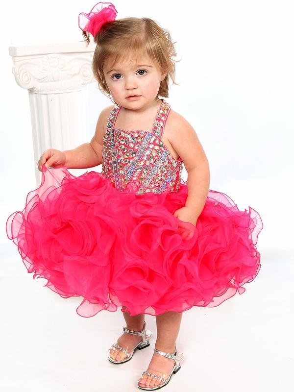 baby girls pageant cupcake dresses halter straps 2015 fuchsia beaded