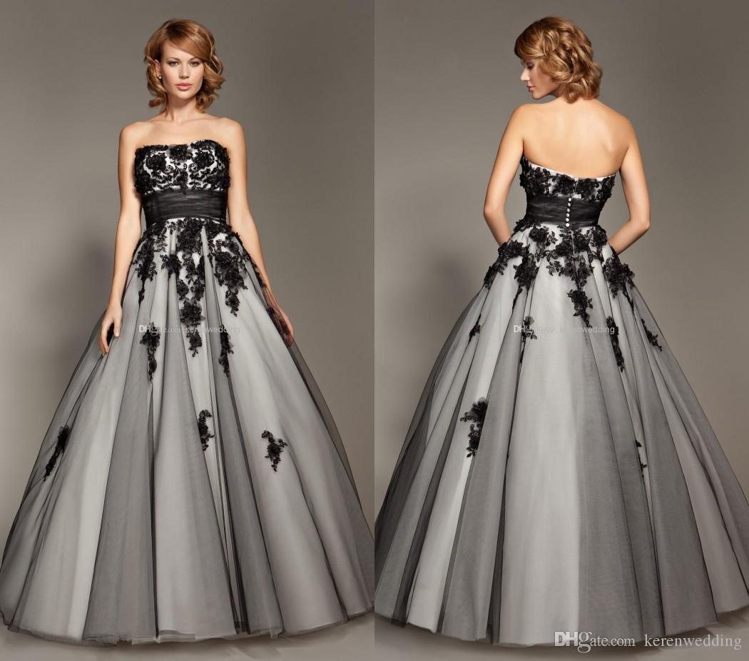 Charming Grey Ball Gown With Black Appliques Beaded Quinceanera Dresses 2015 New Arrivals Junior