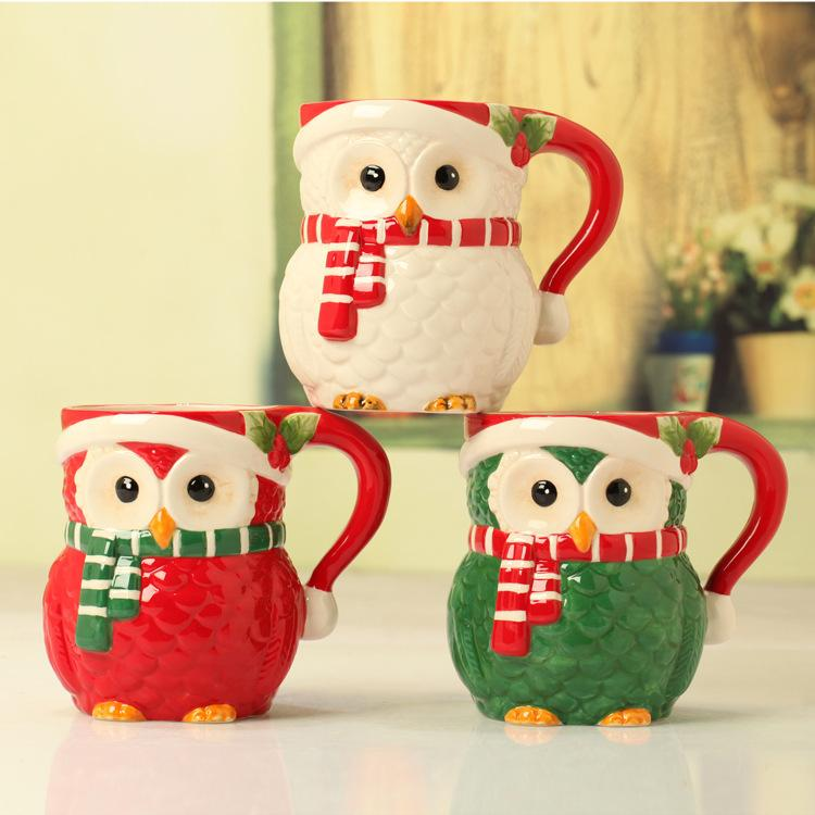Affordable Owl Holiday Decor Gift Ideas For The Home: Wholesale 530ml Christmas Owl Ceramic Mug Fine Hands