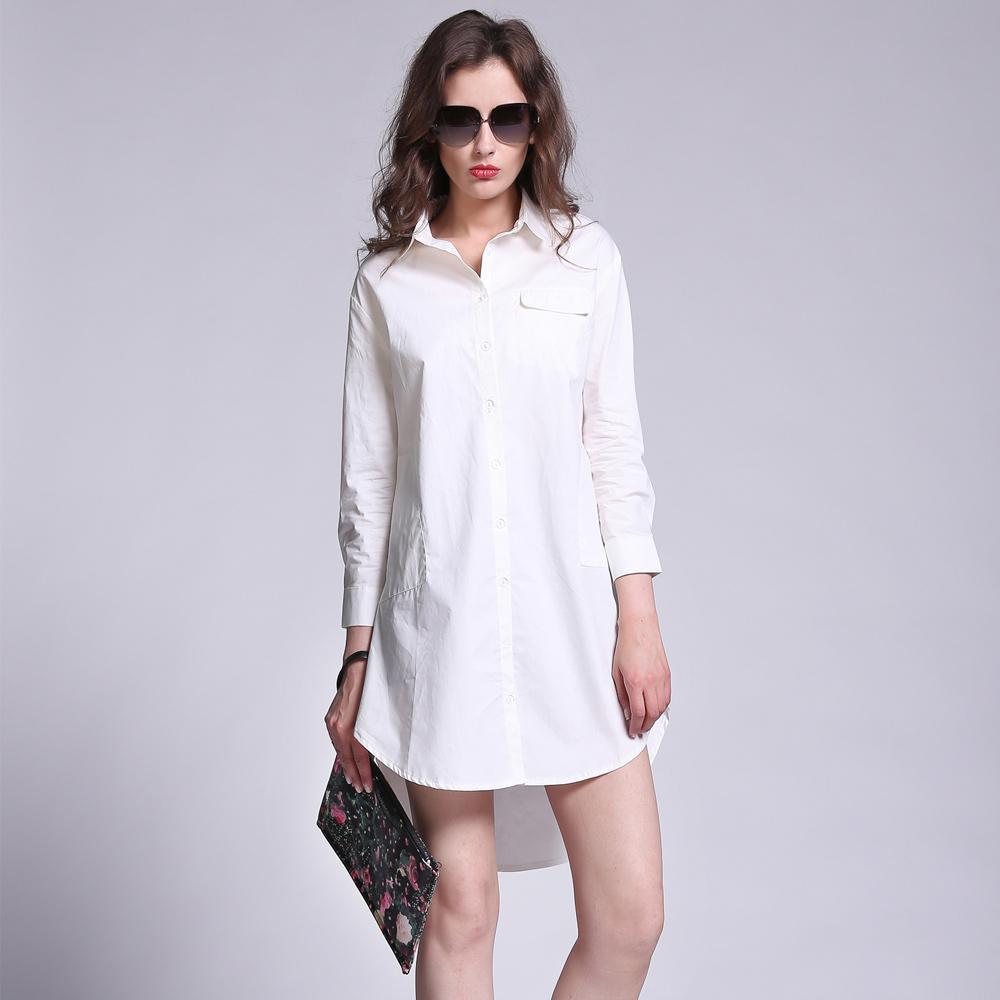 2017 Long Women Blouses White Turn Down Collar Button 3 4