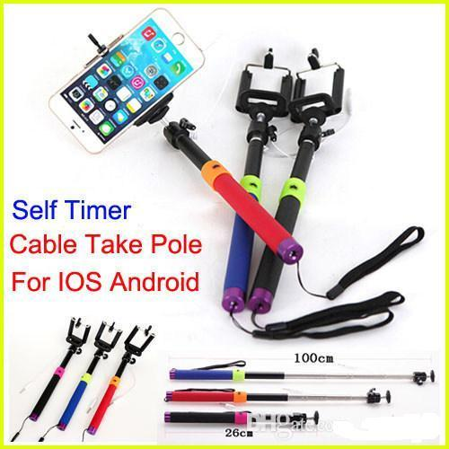 best wired 2in1 audio handheld selfie stick tripod self timer shutter cable take pole. Black Bedroom Furniture Sets. Home Design Ideas