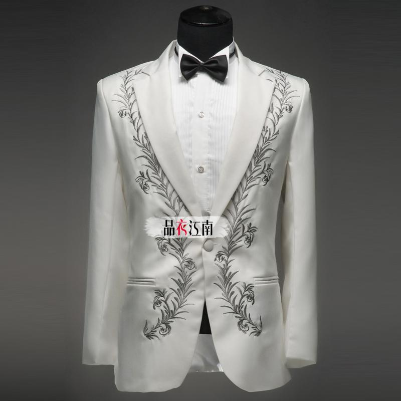 Slim fit embroidered mens suits notched lapel