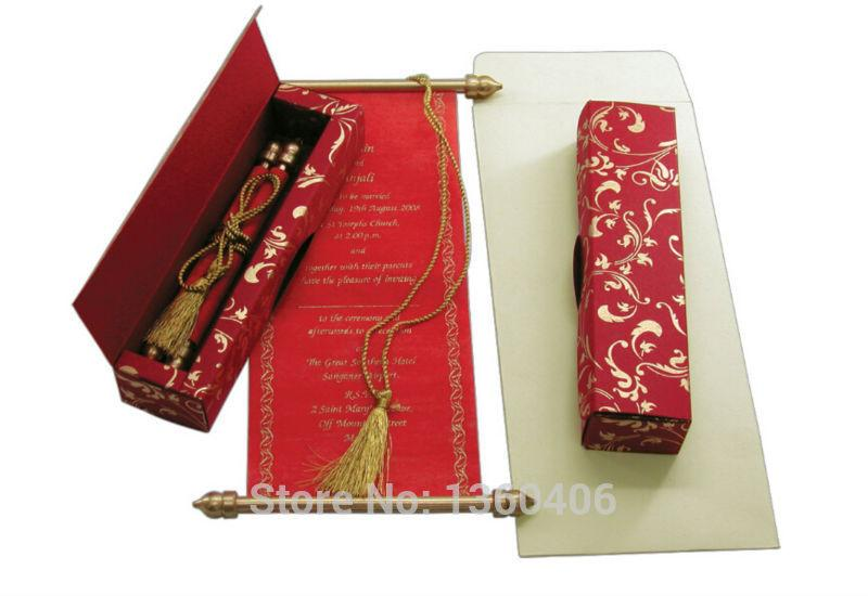 Chinese Red Scroll Invitation Cards Wedding Invitations Custom – Best Invitation Cards