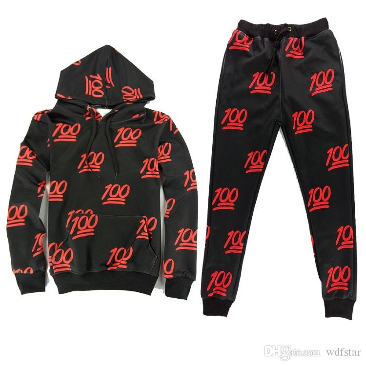 Best Red 100 Emoji Joggers Outfits Black Sports Set One Hundred Emoji Printed Outfit Hoodies ...