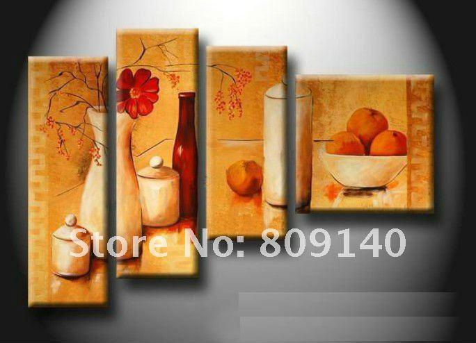 Kitchen dining room oil painting canvas stretched artwork for Best brand of paint for kitchen cabinets with modern wall art cheap