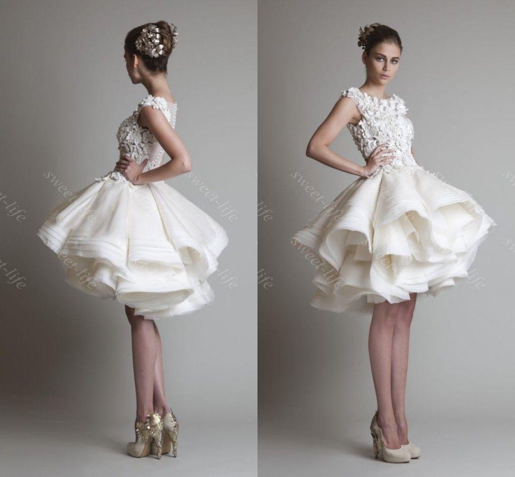 2015 Vintage Short Ball Gown Wedding Dresses Krikor Jabotian Cap ...