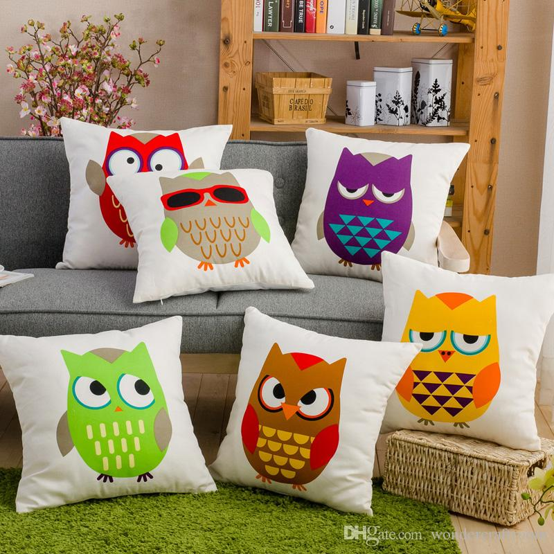 6 Styles Color Birds Owls Print Cushions Pillows Covers Owl Emoji