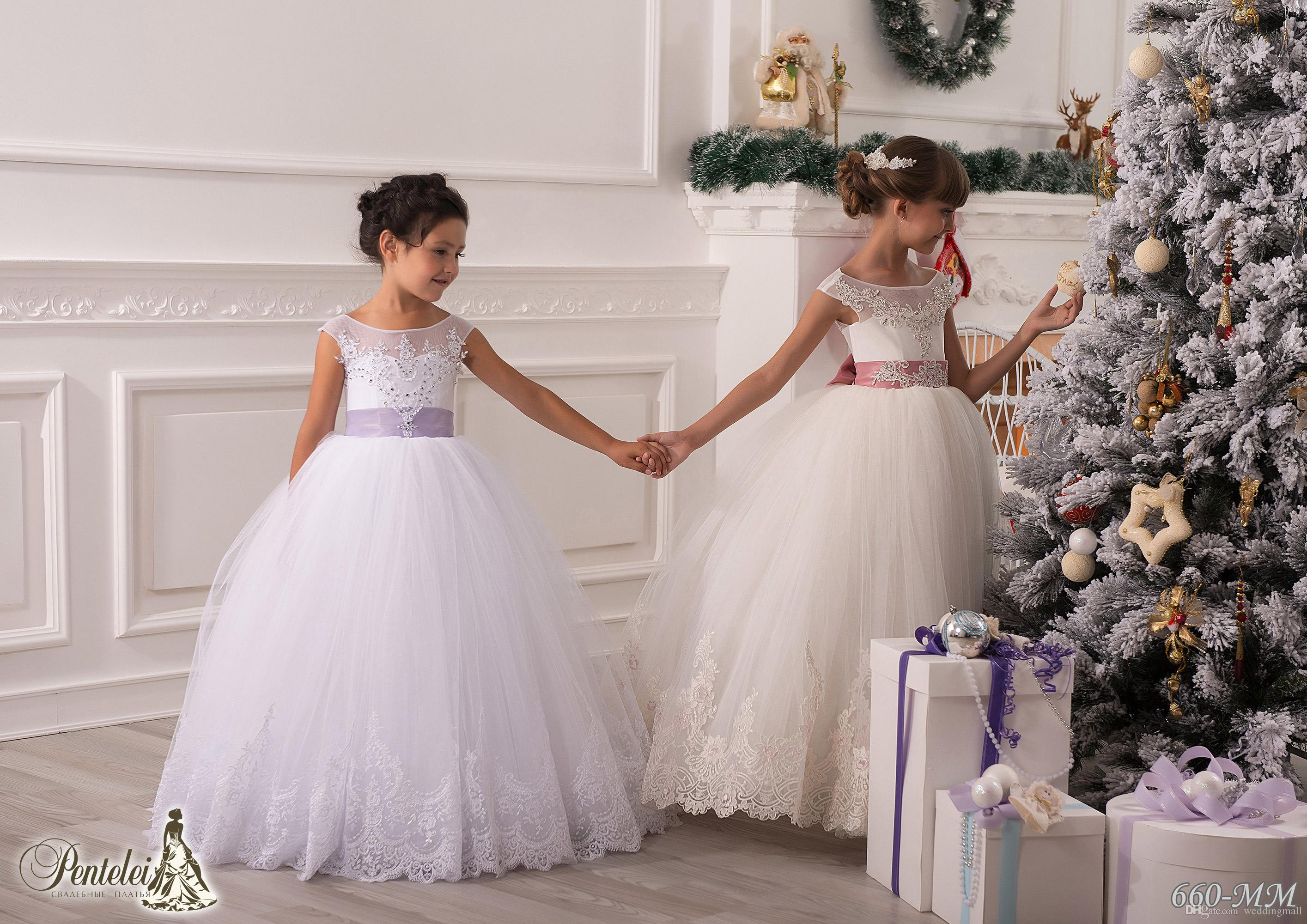 Pics photos girls party dress christmas - Scoop Lace Sash Bows Ball Gown Net Baby Girl Birthday Party Christmas Princess Dress Children Girl